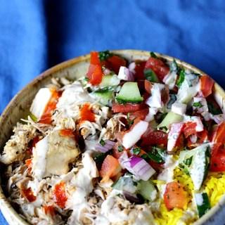 Healthier Food Cart Platters Style Chicken Over Rice|www.mannaandspice.com