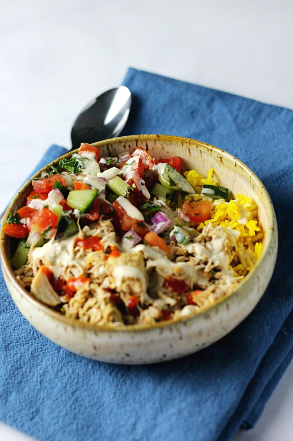 Healthier Food Cart Platters Style Chicken Over Rice|www.mannaandspice.com