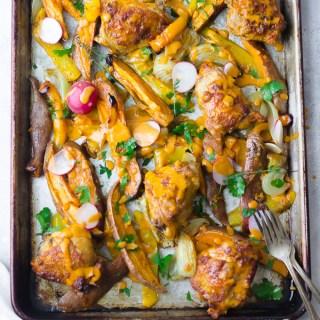 Sheet Pan Fresno Chicken & Veggies| www.mannaandspice.com