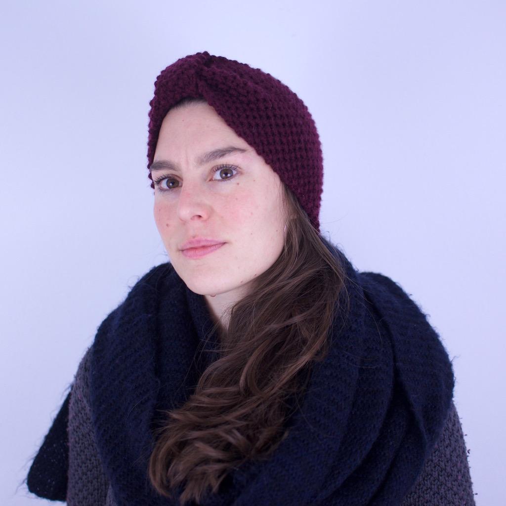 Bandeau tricoté en laine mérinos, coloris bleu nuit