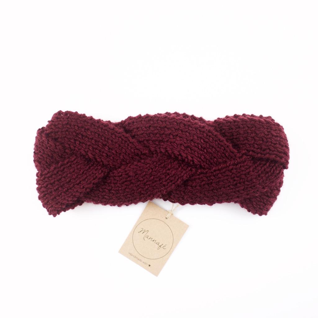 Bandeau tressé, tricoté en laine mérinos, bordeaux