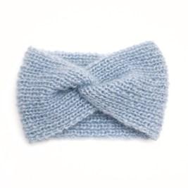 Gestricktes Stirnband, aus Mohair und Seide, hellblau