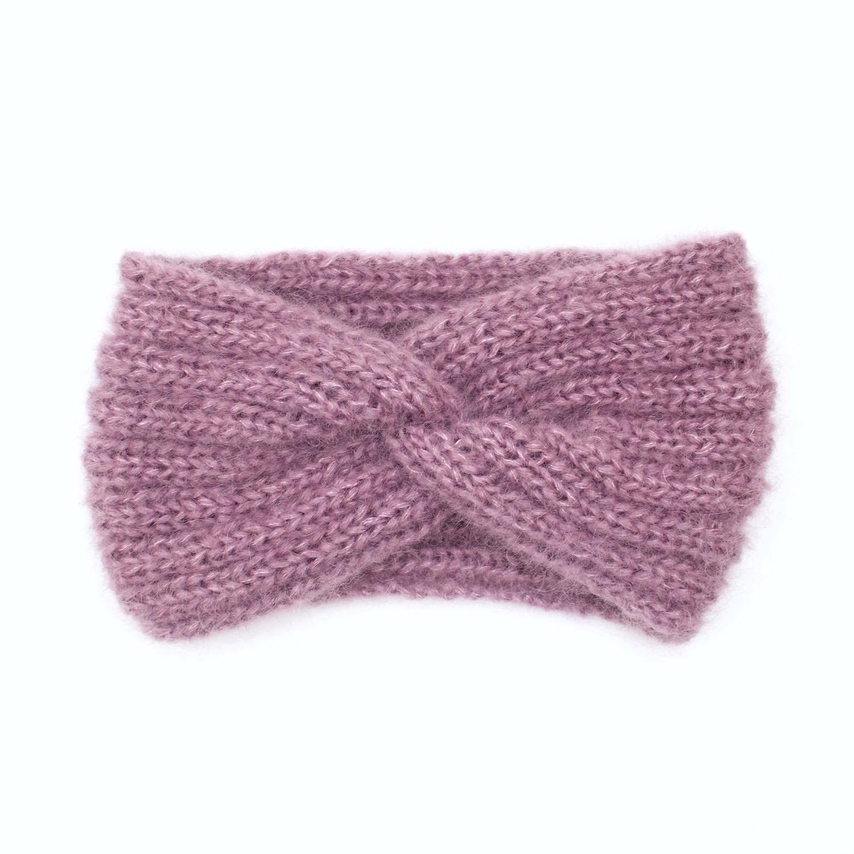 Bandeau tricoté en mohair et soie, bruyère