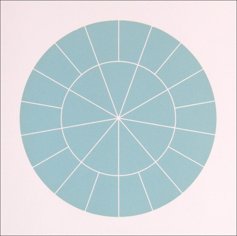 """Array 350/Blue-Green"", 2006. Woodcut, edition of 20. 350mm diameter/19"" x 19""."