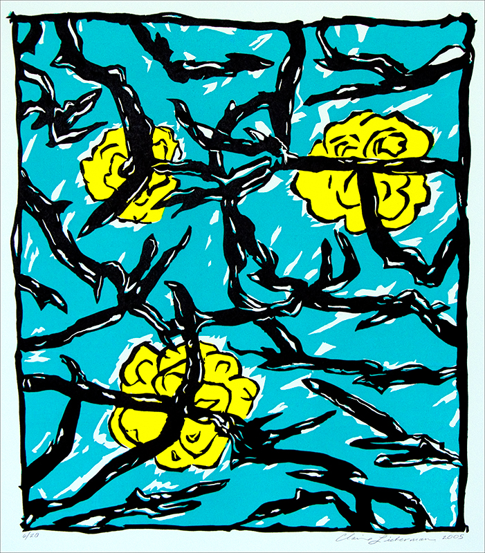 """Blue Branches, 2005. Linoleum cut, edition of 20. 27 ½"" x 25""."