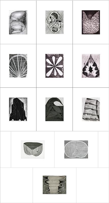 "Portfolio:""Entrances, Exits & Entropy"", 2014. Twelve etchings with letterpress colophon housed in a custom portfolio case."