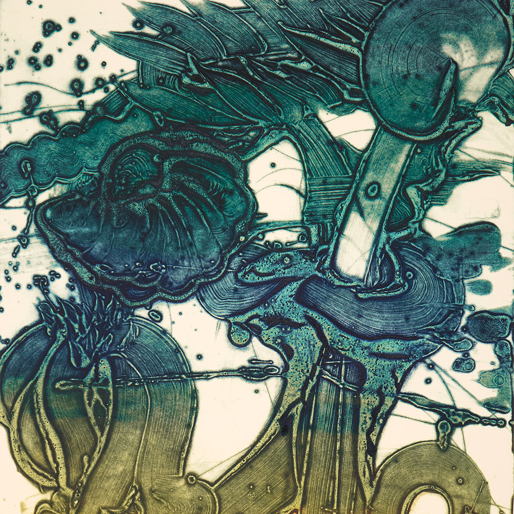 Detail of a collagraph by Catherine Howe