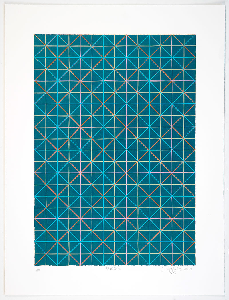 "Jonathan Higgins: ""Blue Grid"", 2014. Reduction linocut."