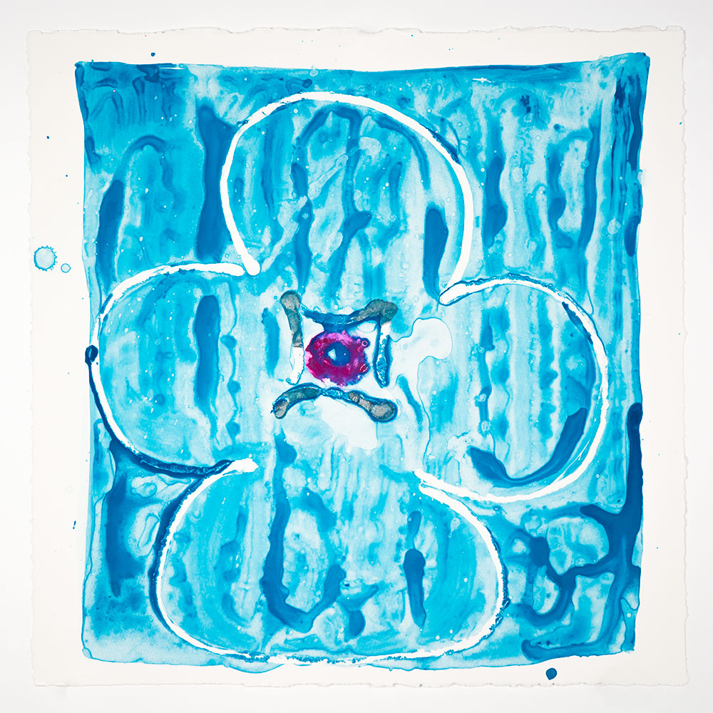 "Judy Ledgerwood: ""Inner Vision: Blue + Silver + Magenta"", 2020. Monotype, 16"" x 16"". Published by Manneken Press."