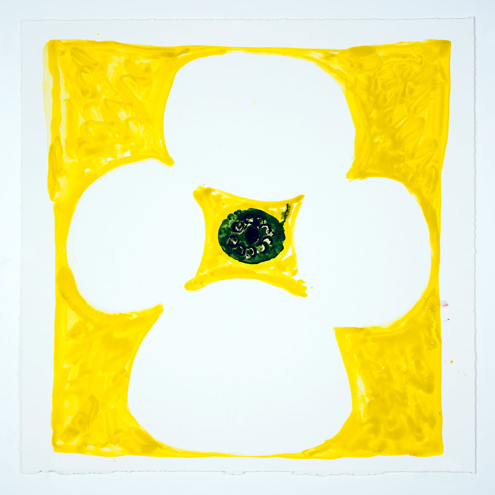 "Judy Ledgerwood: ""Inner Vision: Yellow + White + Olive"", 2020. Monotype, 16"" x 16"""