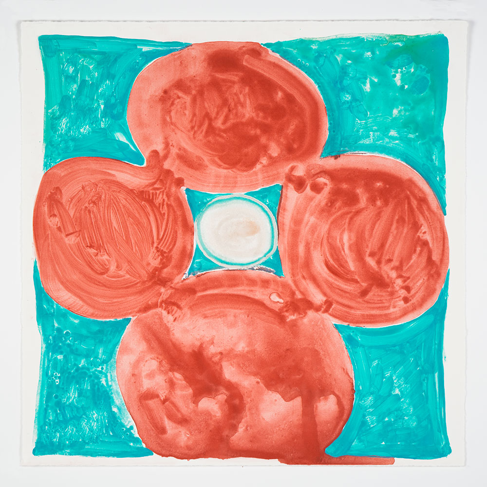 "Judy Ledgerwood: ""Inner Vision: Red + Horizon Blue"", 2020. Monotype, 16"" x 16"". Published by Manneken Press."