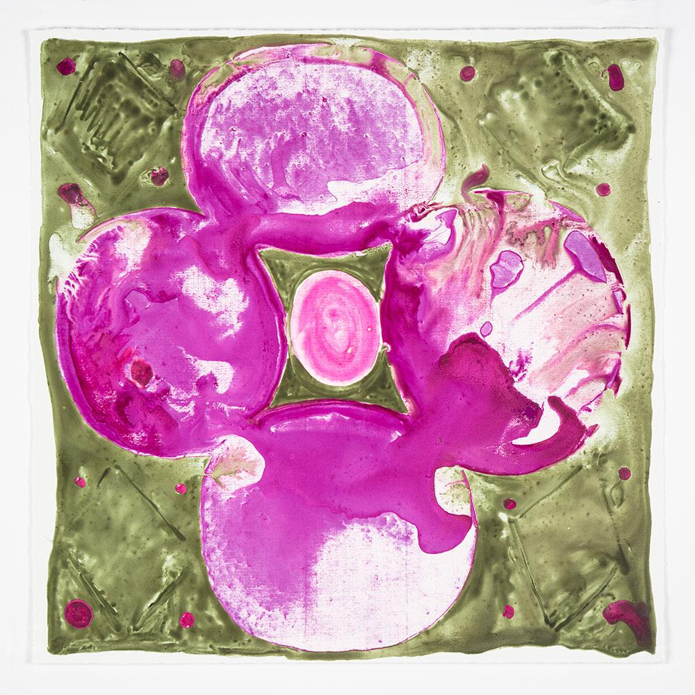 """Judy Ledgerwood: """"Inner Vision: Violet + Umber"""", 2020. Monotype, 16"""" x 16"""". Published by Manneken Press."""