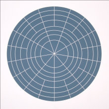 """Array 500/Gray"", 2006. Woodcut, edition of 20. 500 mm diameter/24 ½"" x 24 ½""."