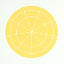 """Array 350/Yellow"", 2006. Woodcut, edition of 20. 350 mm diameter/19"" x 19""."