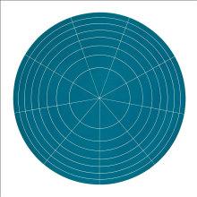 """Array 1000/Green"", 2011. Woodcut, edition of 15. 1000 mm diameter/45"" x 45""."