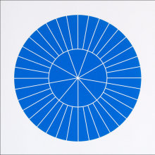 """Array 350/Blue"", 2006. Woodcut, edition of 20. 350 mm diameter/19"" x 19""."