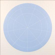 """Array 1000/Pale Blue"", 2011. Woodcut, edition of 15. 1000 mm diameter/45"" x 45""."