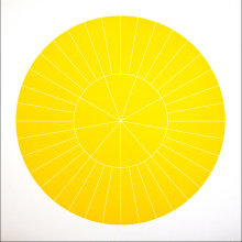 """Array 700/Yellow"", 2006. Woodcut, edition of 20. 700 mm diameter/33"" x 33""."