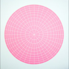 """Array 700/Pink"", 2006. Woodcut, edition of 20. 700 mm diameter/33"" x 33""."
