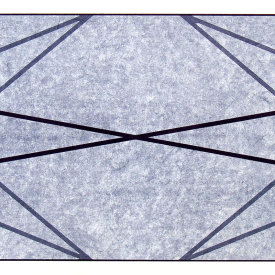 """Stretched-X"", 2009.  Woodcut and chine colle', edition of 10. Image size: 15"" x 30"", paper size: 21"" x 36""."