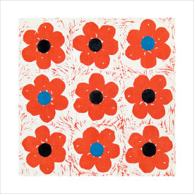 """""""Poppies Tic Tac Toe"""", 2003. Woodcut, chine colle', edition of 20. Image: 12"""" x 12"""", paper: 18 ½"""" x 18 ½""""."""