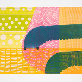 """""""Hopping"""", 2021. Monotype. Image: 16 1/2"""" x 20 1/2"""", paper: 22 1/2"""" x 26""""."""