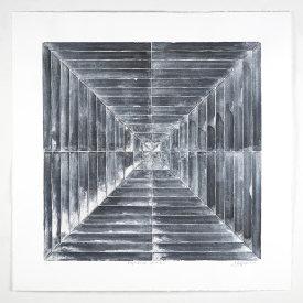 """Perpendicular System #5"", 2020. Monotype, 30"" x 30"""