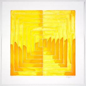 """Flow Chart #12"", 2019. Monotype. Image: 16"" x 16"", paper: 20"" x 20""."