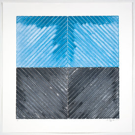 """""""Perpendicular System #1"""", 2019. Monotype. Image: 24"""" x 24"""", paper: 30"""" x 30"""""""