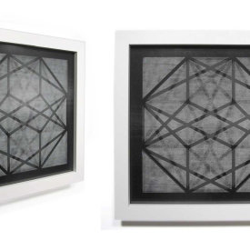 """Contained Element #1"", 2009. Woodcut on black Yatsuo paper and black nylon mesh, mounted between non-glare glass, framed. edition of 5. 21"" x 21""."