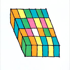 """Jell-O Grid 1"", 2005. Linoleum cut, edition of 20. 22"" x 20"""