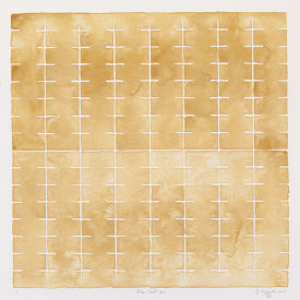 """Flow Chart #9"", 2013. Monotype. Image: 16"" x 16"", paper: 20"" x 20""."