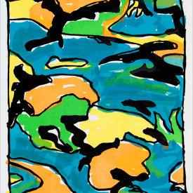 """Ocean Jell-O"", 2005. Linoleum cut, edition of 20. 22"" x 20""."
