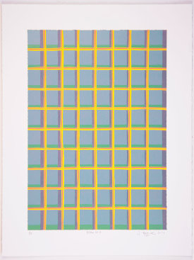 """Yellow Grid"", 2014. Relief print with chine collé. Image size: 20"" x 14"", sheet size: 25"" x 19"". Edition of 10."