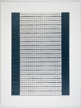 """Lattice"", 2014. Relief print with chine collé. Image size: 20"" x 14"", sheet size: 25"" x 19"". Edition of 10."