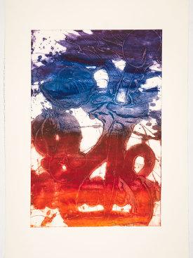 """""""Bouquet (sunflower, orange, rust, red, blue, violet)"""", 2019. Unique collagraph, 44"""" x 30 1/2""""."""