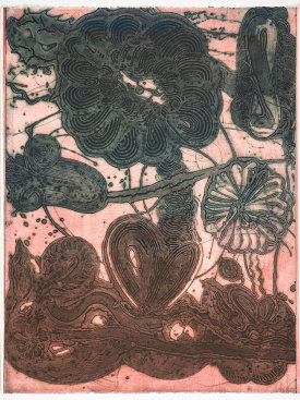"""Garden (daisy, pheasant, green on rose)"", 2019. Unique collagraph and relief print, 42 1/2"" x 33""."