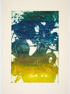 """""""Bouquet (sunflower, lemon, blue, hunter)"""", 2019. Unique collagraph, 44"""" x 30 1/2""""."""