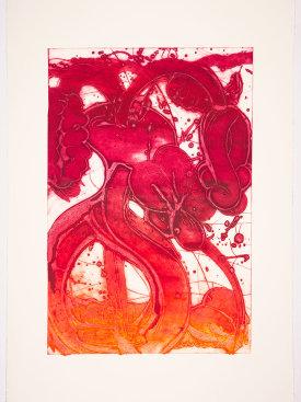 """Bouquet (mum, blood orange, rose), 2019. Unique collagraph, 44"" x 30 1/2""."