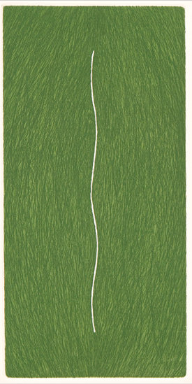 """""""Slip/3"""", 1998. Etching, edition of 20. Image: 10"""" x 5"""", paper: 14"""" x 9""""."""