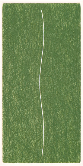 """""""Slip/1"""", 1998. Etching, edition of 20. Image: 10"""" x 5"""", paper: 14"""" x 9""""."""