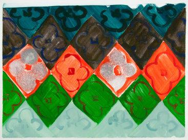 """Judy Ledgerwood: """"Untitled III"""", 2014. Monotype. 22"""" x 30""""."""