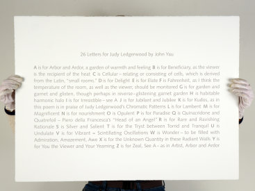 """Deluxe edition portfolio: """"Chromatic Patterns After the Graham Foundation"""", 2014 (poem detail). John Yau's poem, """"26 Letters for Judy Ledgerwood"""", is silkscreened in silver ink. Poem and prints are 22″ x 30″."""