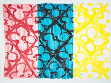 """""""Primary Triad"""", 2020. Monotype, 22 ¼"""" x 31""""."""