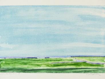 """Saltwater Meadow"", 2001. Monotype. Image: 16"" x 25"", paper: 22"" x 30""."