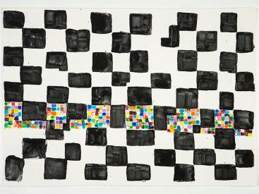 """Four Square Forsworn"", 2020. Monotype, 22 ¼"" x 31""."