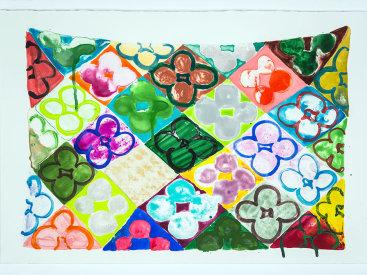 """Field Of Flowers/Garden"", 2020. Monotype, 15"" x 22""."