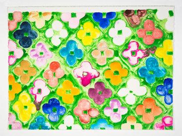 """""""Field Flowers #1"""", 2020. Monotype, 13"""" x 17"""""""