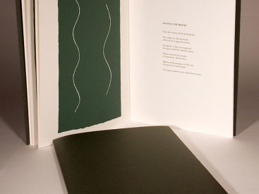 """""""Surf Music"""", 2000. Artist's book: letterpress and silkscreen. Nine poems by R. Sam Deese, nine images by Rupert Deese. A single signature book, printed on Fabriano Artistic paper, hand-sewn with linen thread in a folded, dark-green cover debossed with the title. Signed and numbered by the poet and the artist in pencil. Edition of 200. 12"""" x 8"""". 12 pages."""