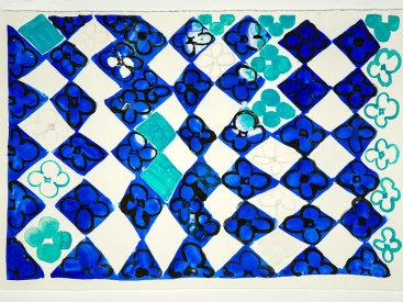 """""""Field Of Flowers/Blue + Black"""", 2020. Monotype, 15"""" x 22""""."""